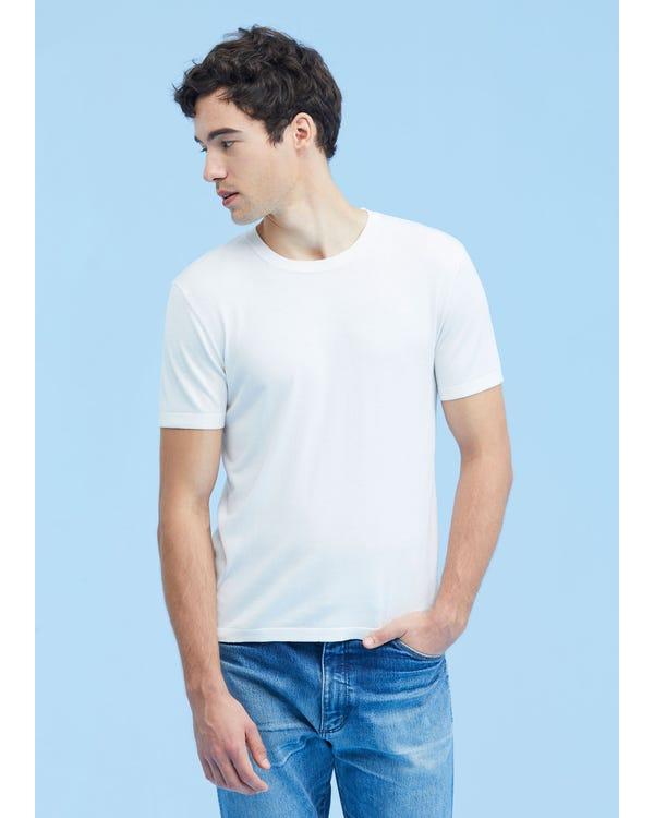 Mens Crew Neck Silk Knitted T Shirt White M