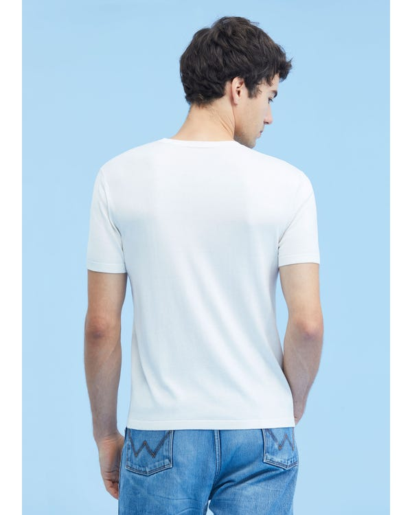 Mens Crew Neck Silk Knitted T Shirt White M-hover