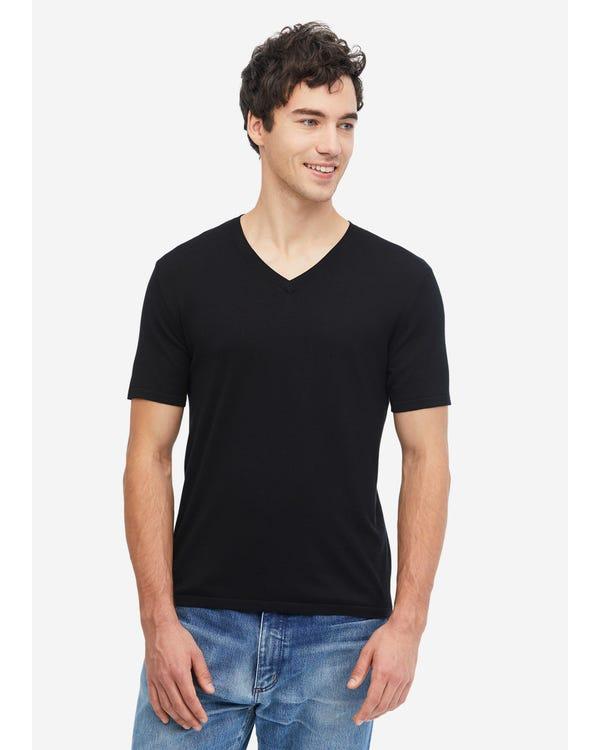 Camiseta Básica de Punto de Seda Hombre Black L