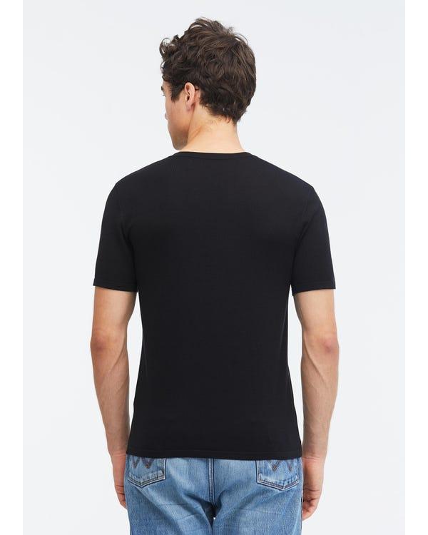 Camiseta Básica de Punto de Seda Hombre Black L-hover