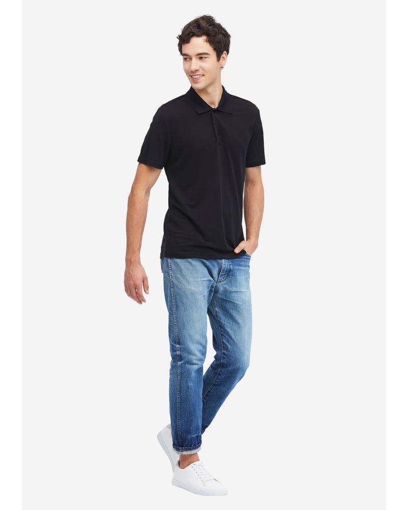 Silk Polo Shirt With Dark Pattern