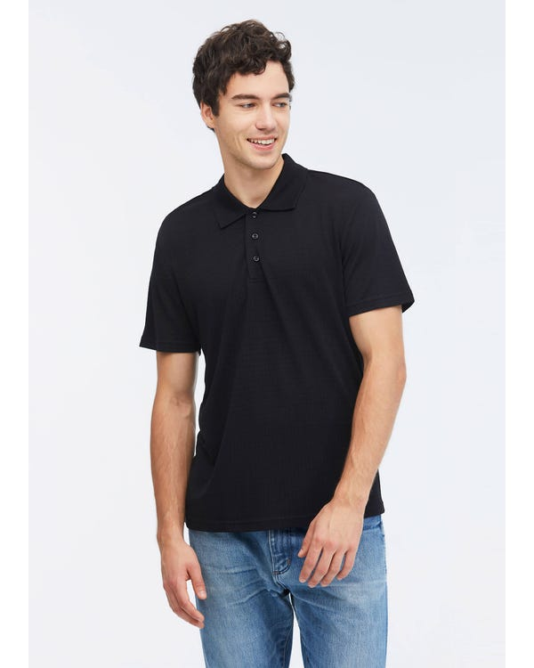 Silk Polo Shirt With Dark Pattern-hover