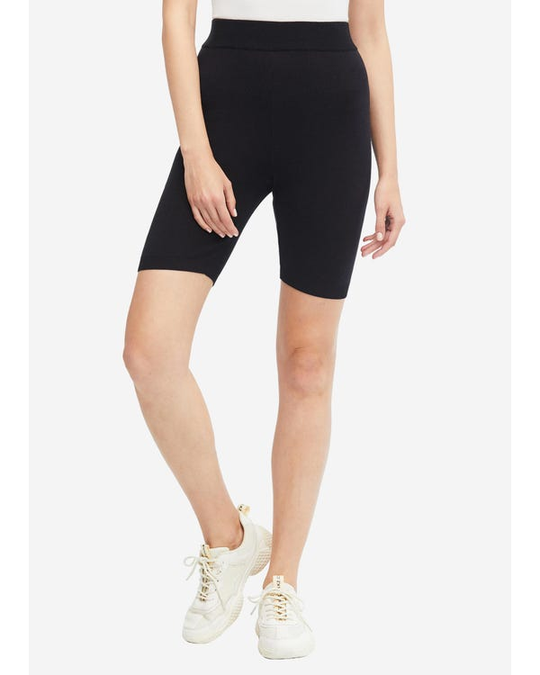 Solid Black Silk Knitted Bike Shorts