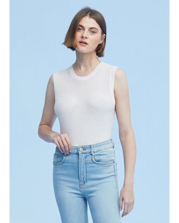 Slim Fit Silk Knit Sleeveless Top
