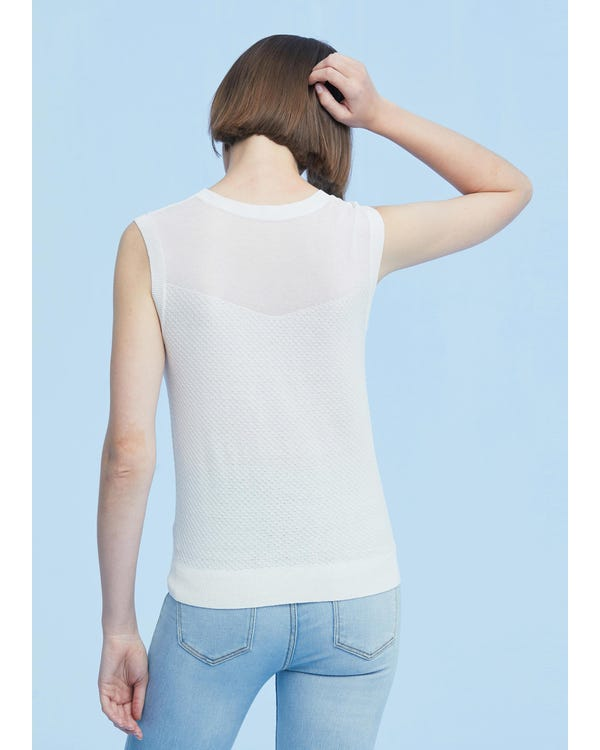 Slim Fit Silk Knit Sleeveless Top-hover