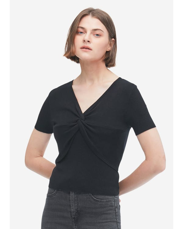 Short Sleeves Silk Knit Tee with Knot