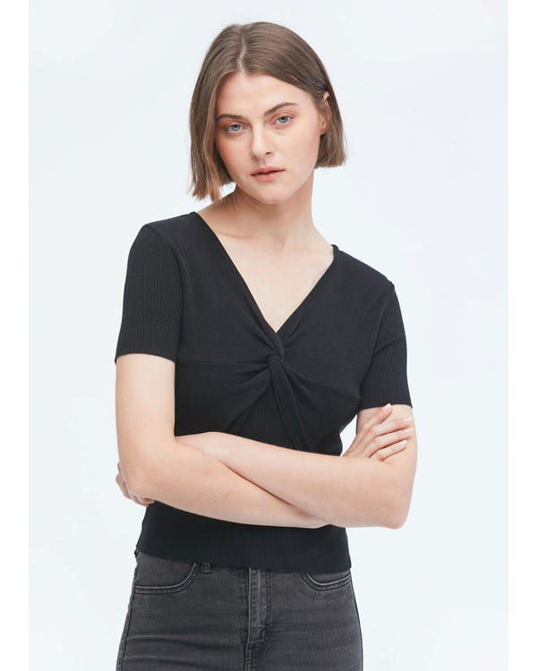 Short Sleeves Silk Knit Tee with Knot-hover
