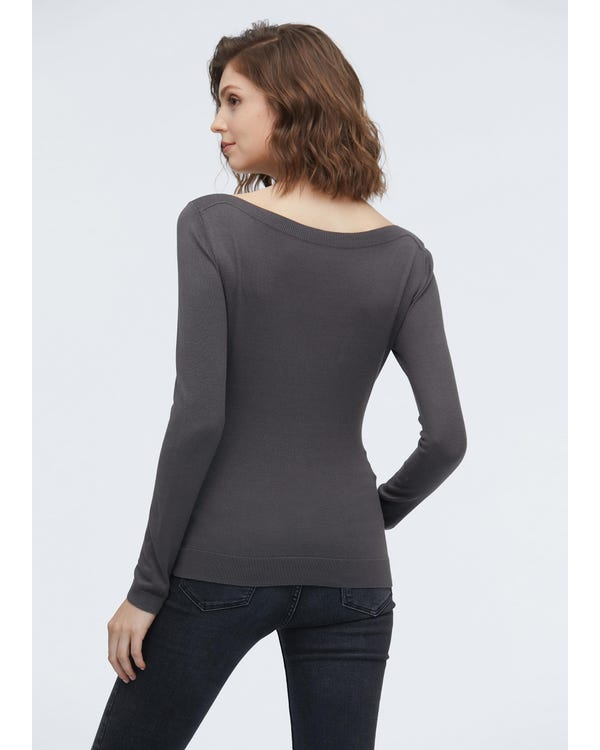Elegant Boat Neck Long Sleeve Silk Knitted T-shirt Dark Gray S-hover