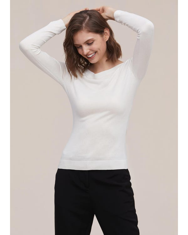 Elegant Boat Neck Long Sleeve Silk Knitted T-shirt