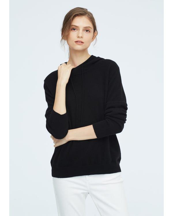 Frauen Pullover Kaschmir Strickpullover Black L-hover