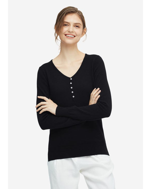 Women concise V-neck Cashmere Sweater Black S