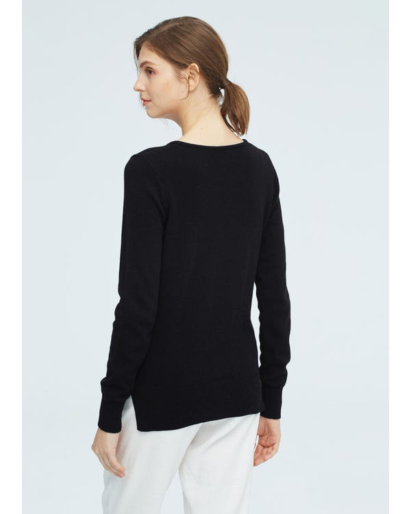 Women concise V-neck Cashmere Sweater Black S-hover