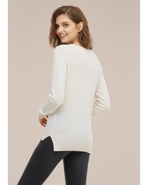 Women concise V-neck Cashmere Sweater-hover