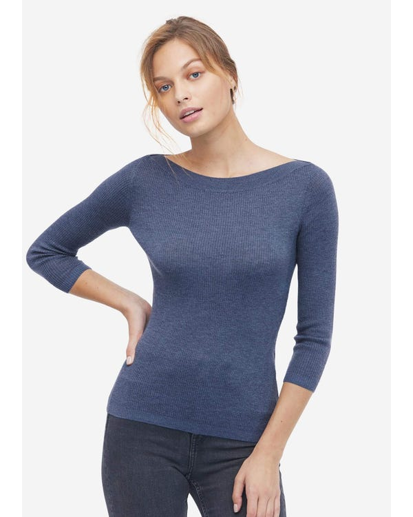 Slim Fit Boat Neck Cashmere Sweater