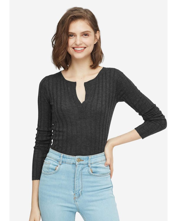 Gemütlicher V-Ausschnitt Pullover aus Seidenwolle gray-w01 S