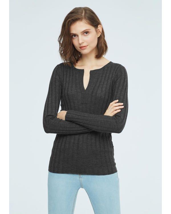 Gemütlicher V-Ausschnitt Pullover aus Seidenwolle gray-w01 S-hover