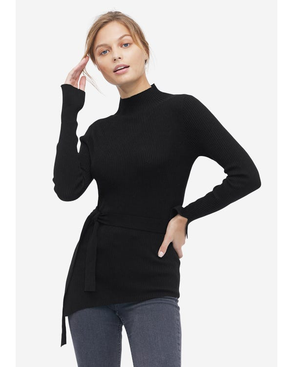 Damen Seidenstrick Pullover mit halbhohem Kragen Black S
