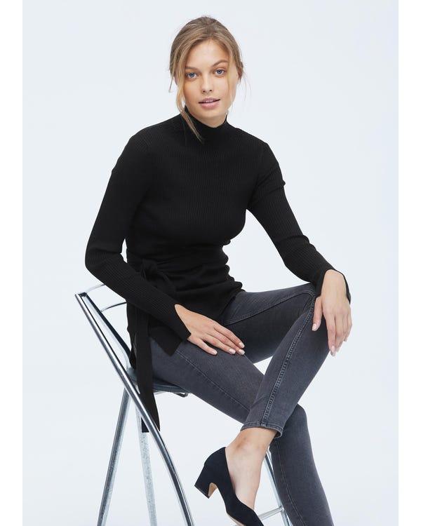 Damen Seidenstrick Pullover mit halbhohem Kragen Black S-hover