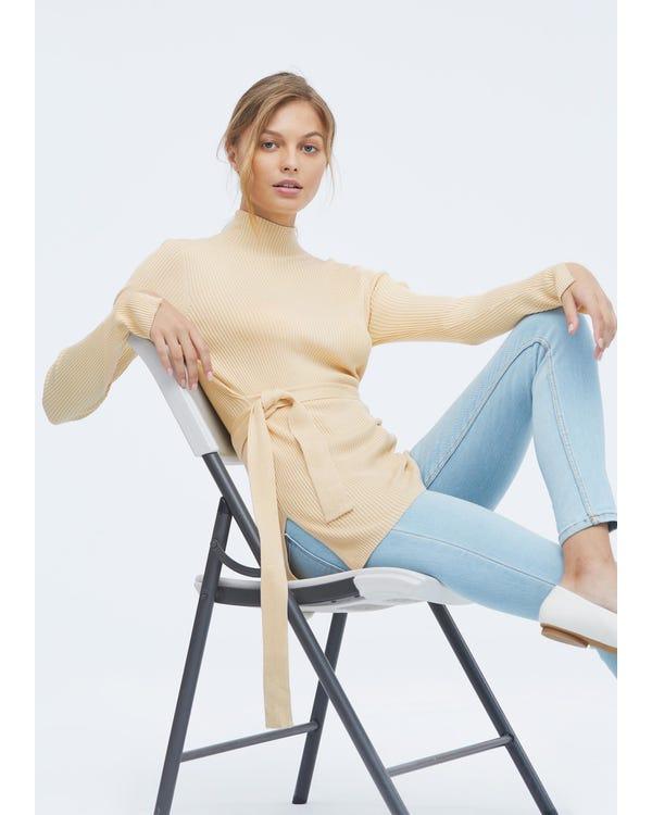 Damen Seidenstrick Pullover mit halbhohem Kragen Light-Taupe L