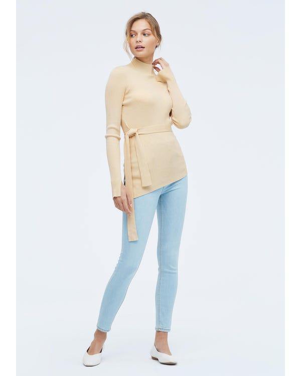 Damen Seidenstrick Pullover mit halbhohem Kragen Light-Taupe L-hover