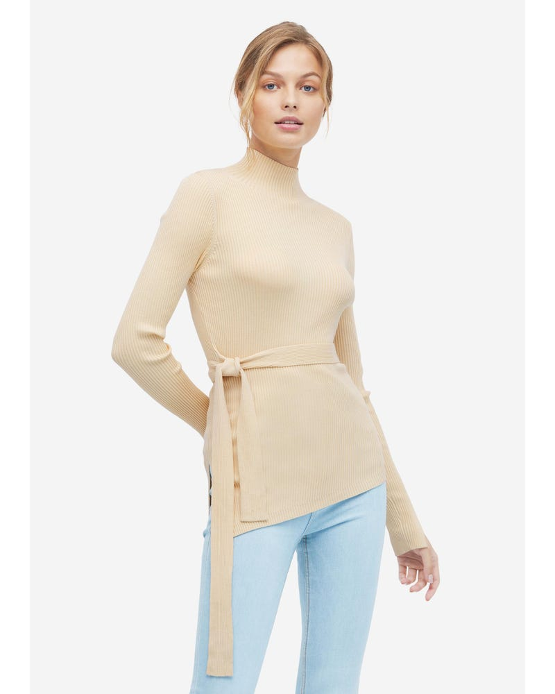 Women Silk Knitted Sweater With Half High Collar
