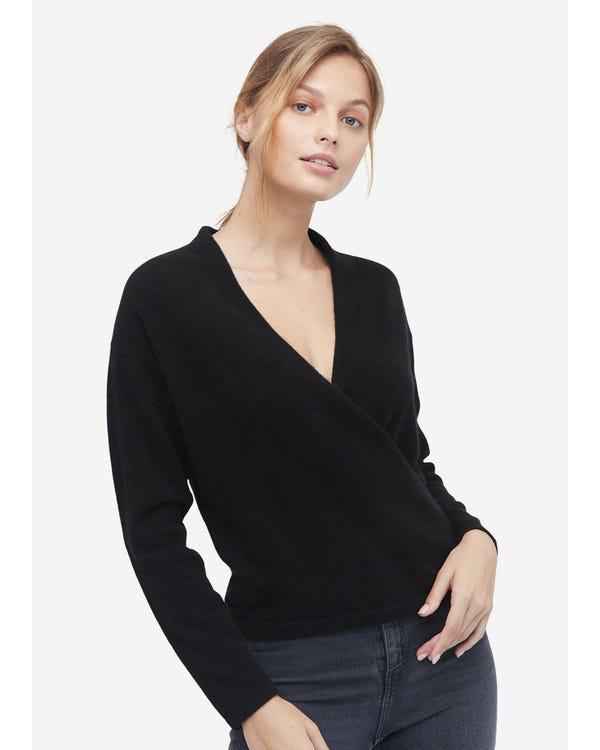 Einfacher Wollpullover mit V-Ausschnitt Black S