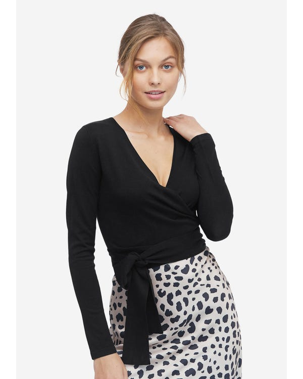 Essential Silk Knitted Wrapover Top Black S