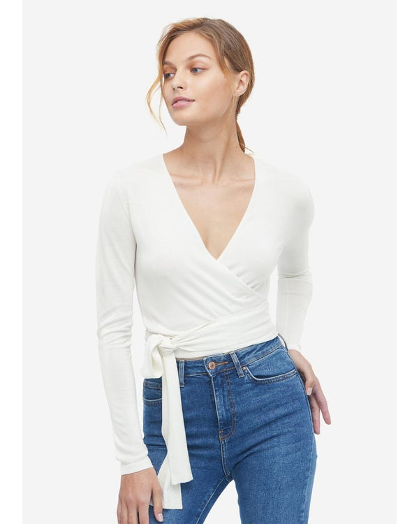 Essential Silk Knitted Wrapover Top White L