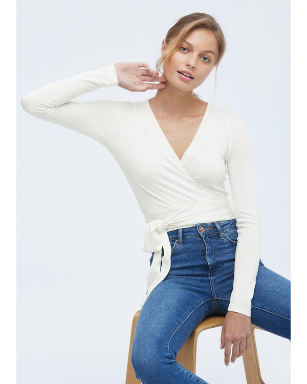 Essential Silk Knitted Wrapover Top White M-hover