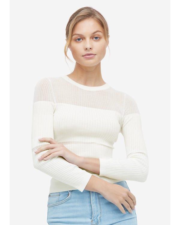 Herbst Seidenstrick Pullover für Frauen White S