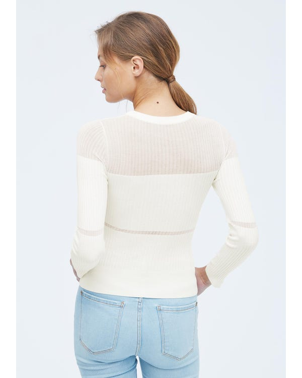 Herbst Seidenstrick Pullover für Frauen White S-hover