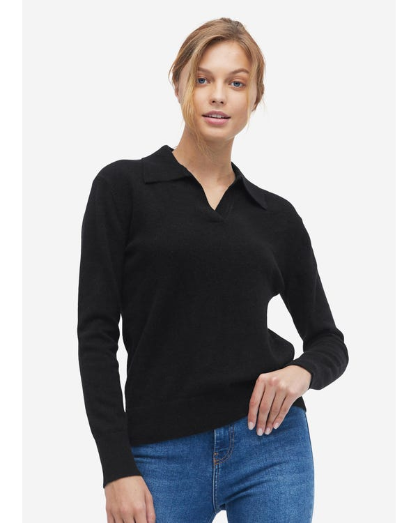 Cashmere Sweater With Polo Collar