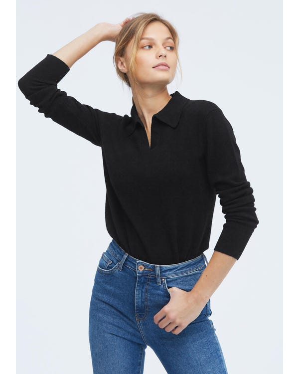 Cashmere Sweater With Polo Collar-hover