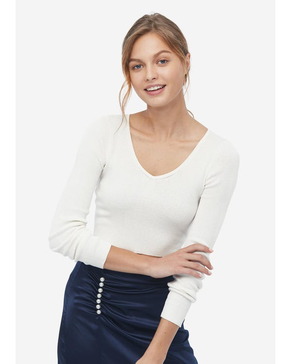 Cozy Deep V Neck Silk Knit Crop Sweater