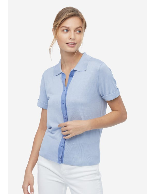 Shirt Collar Silk Knitted T shirt For Women