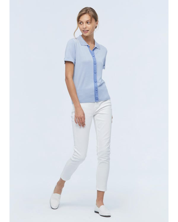 Shirt Collar Silk Knitted T shirt For Women-hover