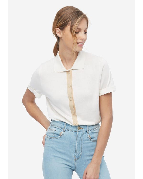 Hemdkragen Seide gestrickt T-Shirt für Frauen Natural White M