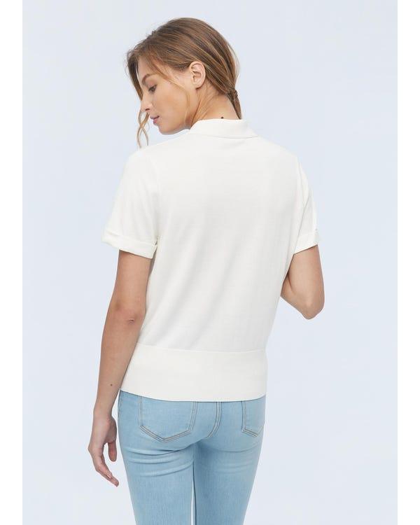 Hemdkragen Seide gestrickt T-Shirt für Frauen Natural White M-hover