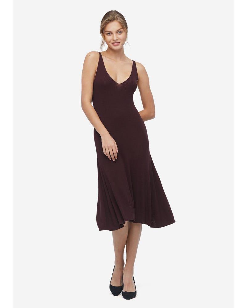 Deep V Neck Elegant Silk Knit Dress