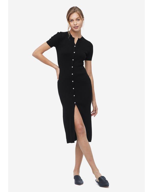 Elegantes langes Seidenstrick Kleid Black L