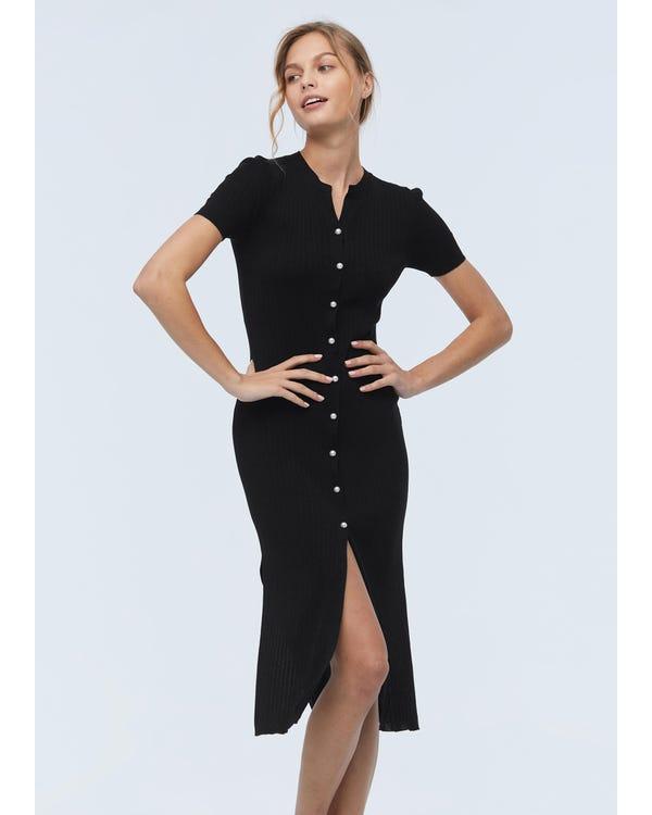 Elegantes langes Seidenstrick Kleid Black L-hover