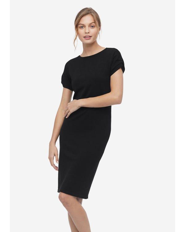 Klassisches Mischstrick Kleid mit kurzen Ärmeln Black L
