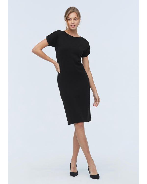 Klassisches Mischstrick Kleid mit kurzen Ärmeln Black L-hover