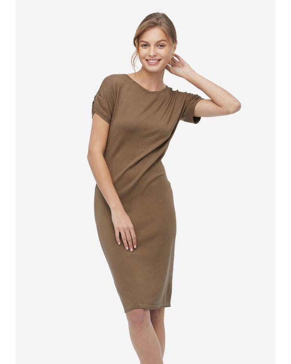 Classic Short Sleeve Blended Knitted Dress