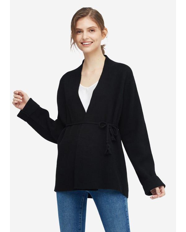 Bequeme Strickjacke aus Wolle für Frauen Black S