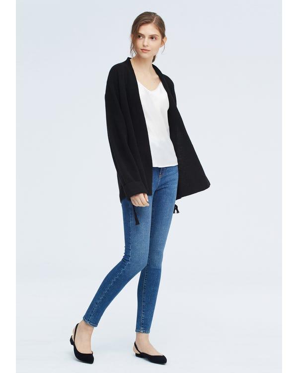 Bequeme Strickjacke aus Wolle für Frauen Black S-hover