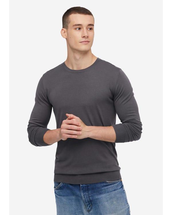Fashion Silk Knitted Tee For Men Dark Gray M