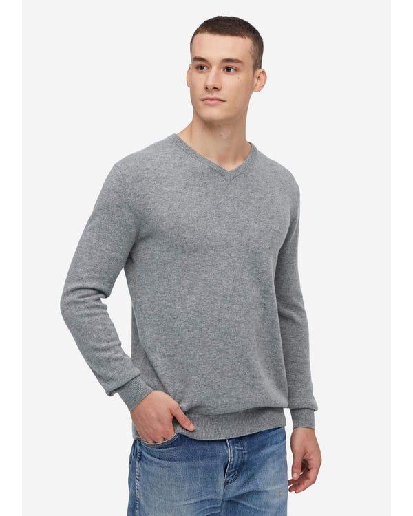 Men's V-Neck Cashmere Sweater Light Gray S