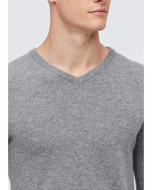 Men's V-Neck Cashmere Sweater Light Gray S-hover