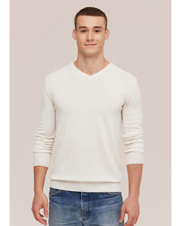 Herren Kaschmirpullover mit V-Ausschnitt White L